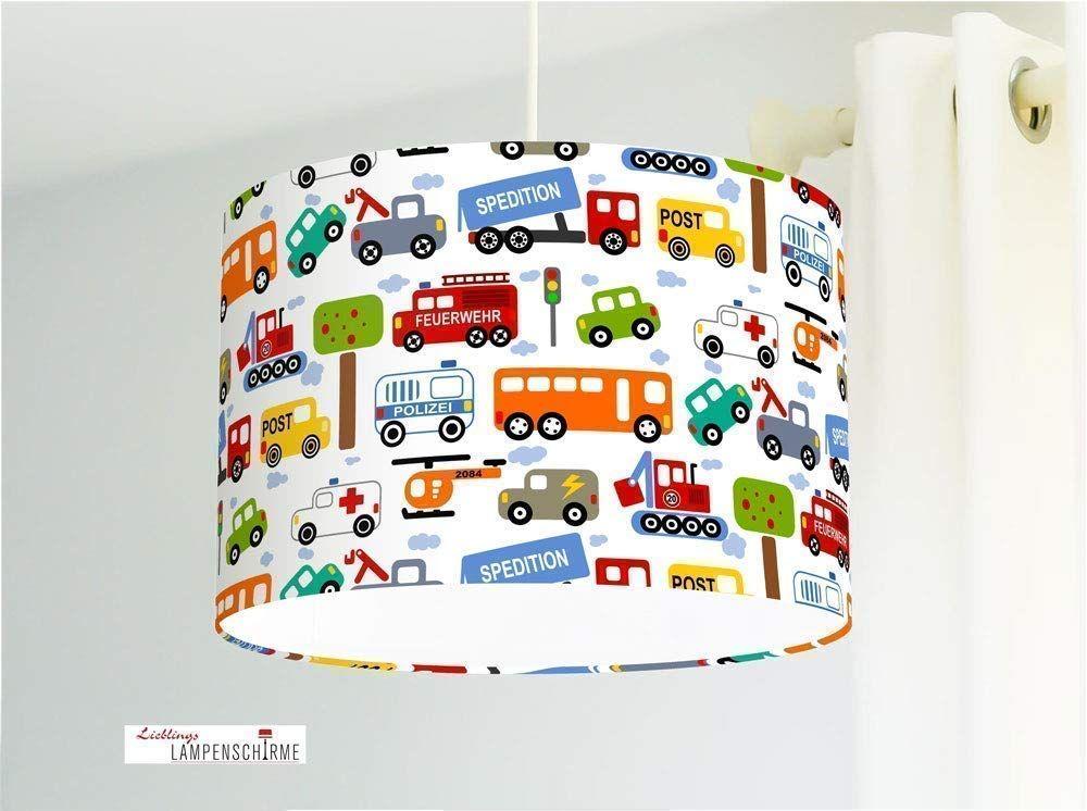 Kinderlampe F R Jungs Mit Autos Auf Wei Aus Baumwolle Alle Farben M Glich1 In 2020 Lamp Lamp Shade Decor