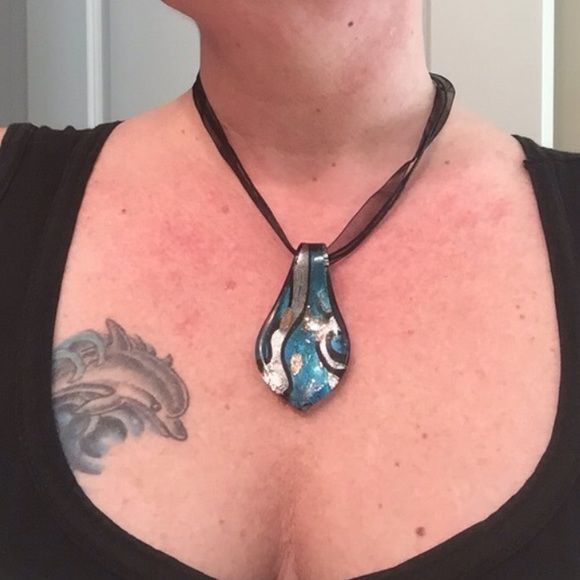 """100% Venetian glass pendant in Blue, Silver & Gold 10.5"""" drop w/adjustable extension. Organza Ribbon & Silk Cord W/ adjustable extender. While visiting Venice in 2005, I purchased several items from the glass factory """"Vecchia Murano"""" and been holding on to my BEST PIECES until now. ( see separate post of my experience watching a Master Glasmaker at the factory ) NWOT Vecchia Murano Jewelry Necklaces"""