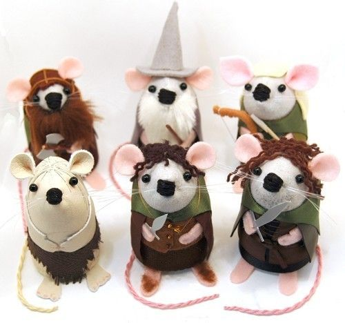Gimli, Gandalf, Legolas, Gollum?, Frodo, and Sam mice