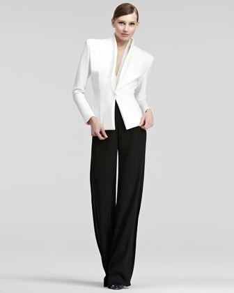 Satin Blazer, Surplice Bodysuit & Crepe Pants by Donna Karan