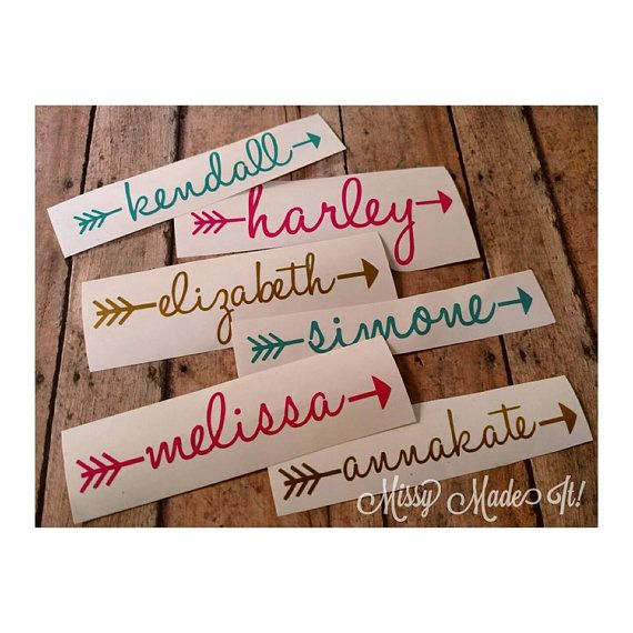 Custom name vinyl decal cursive lettering arrow by missymadeit