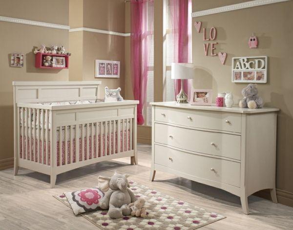 S es baby m dchen kinderzimmer rosa gardinen wei e m bel for Baby kinderzimmer einrichten