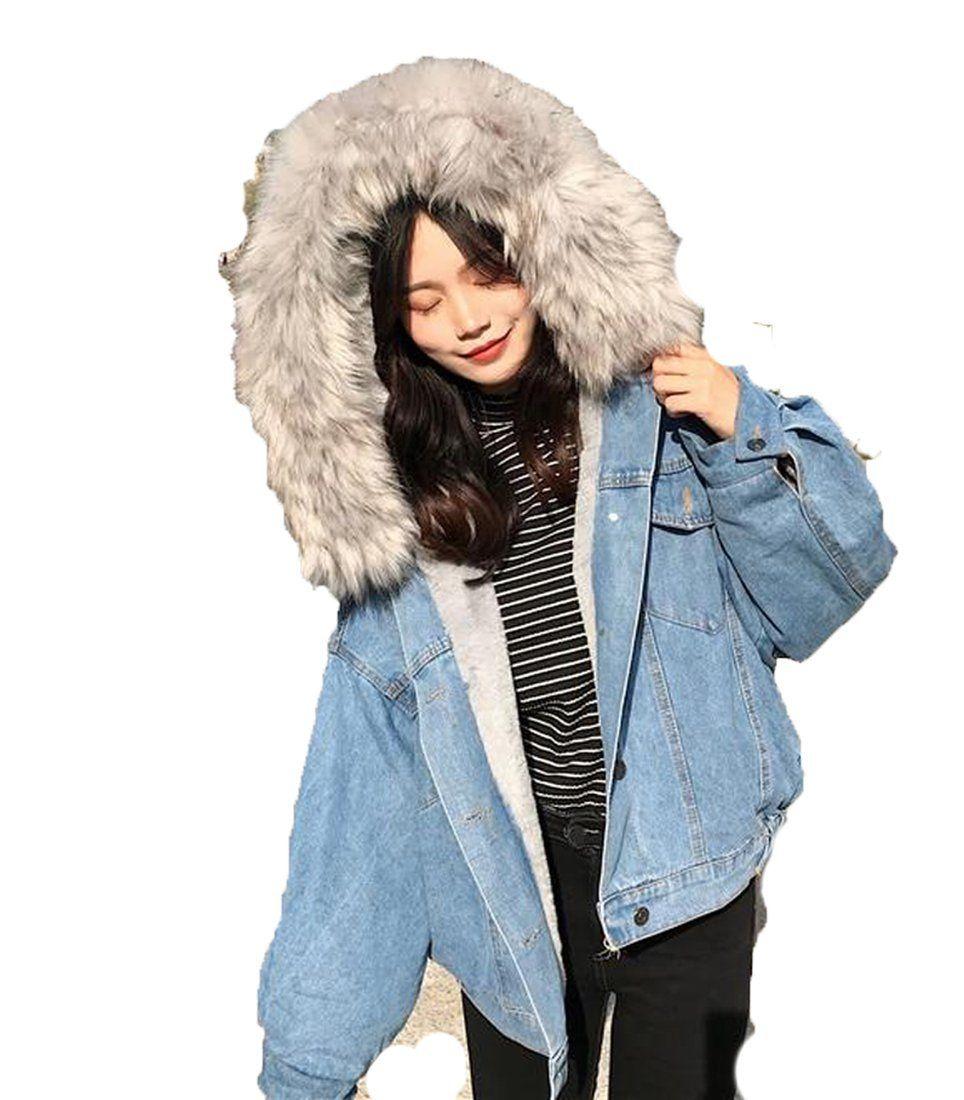 Women S Jean Jacket Big Faux Fur Collar Oversized Batwing Sleeve Denim Wool Liner Velvet Warm Hooded For Winter Jean Jacket Women Denim Coat Jacket Denim Wool Jacket [ 1100 x 964 Pixel ]