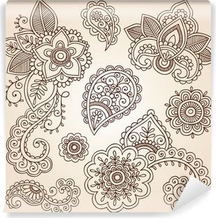 Henna Paisley Mandala Tattoo Doodle Vector Design Elements Set Wall Mural • Pixers® - We live to change