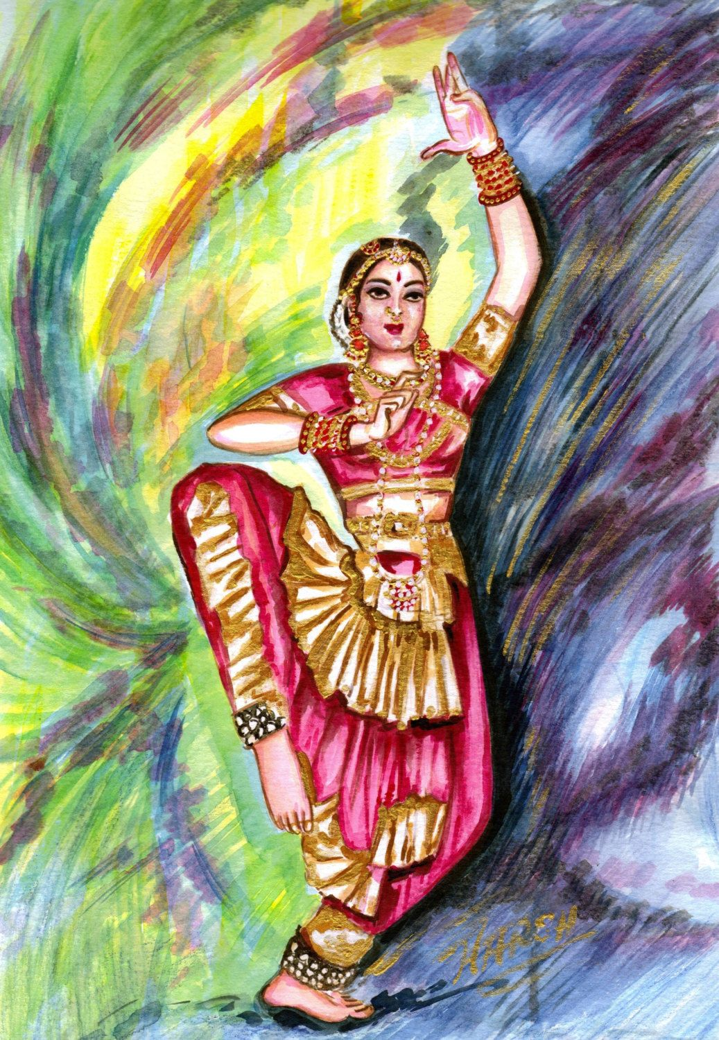 Indian Classical Dance Painting Colourful Dance