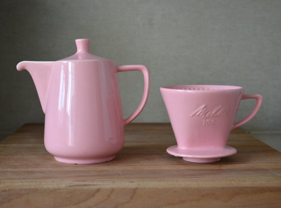 Vintage Germany Pink Melitta Ceramic Coffee Pot And By Catbedoven 60 00