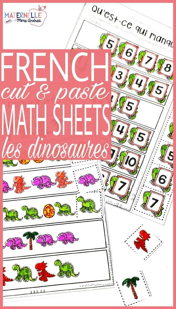 french dinosaur no prep math worksheets cut paste les dinosaures kindergarten math. Black Bedroom Furniture Sets. Home Design Ideas
