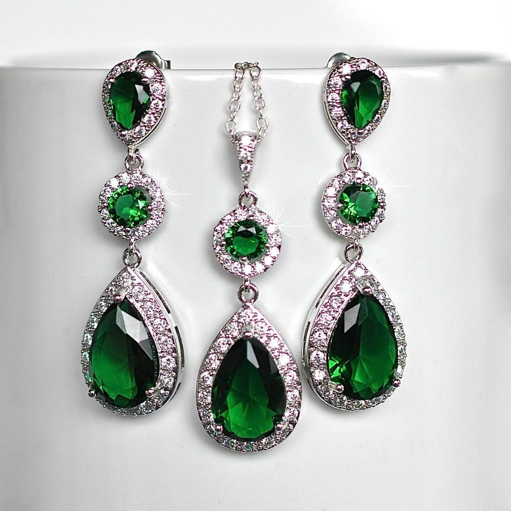 Emerald Green Cubic Zirconia CZ Bridal Necklace and