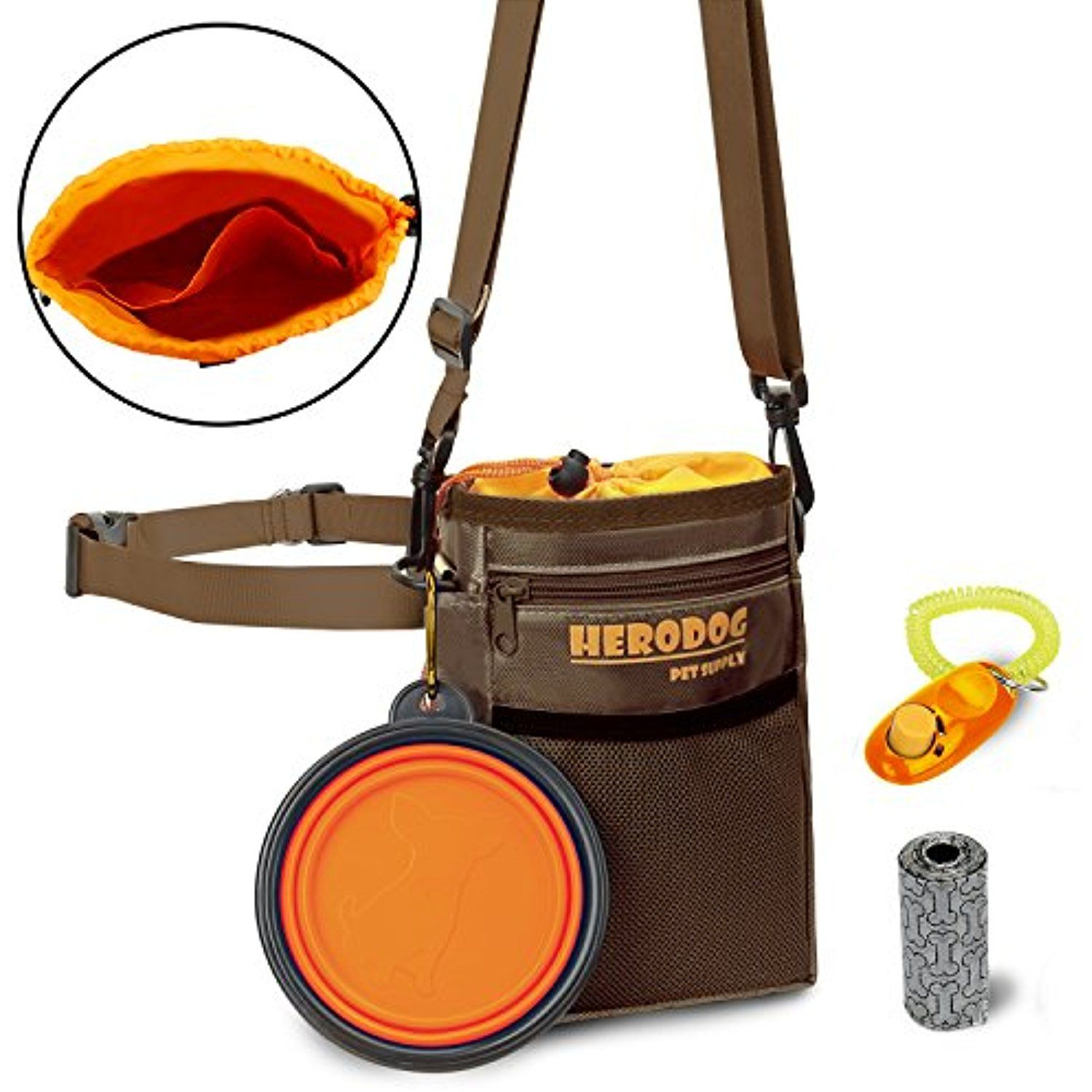 Dog Training Pouch Treat Bag Dual Compartments Insulated With