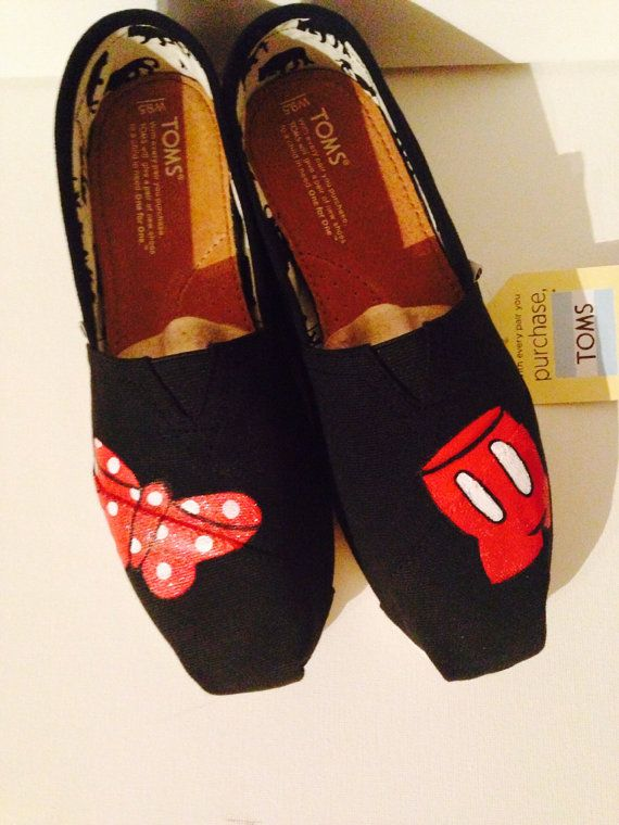 53c0c667dc9 Hand Painted Toms Minnie and Mickey by YirkasBoutique on Etsy ...