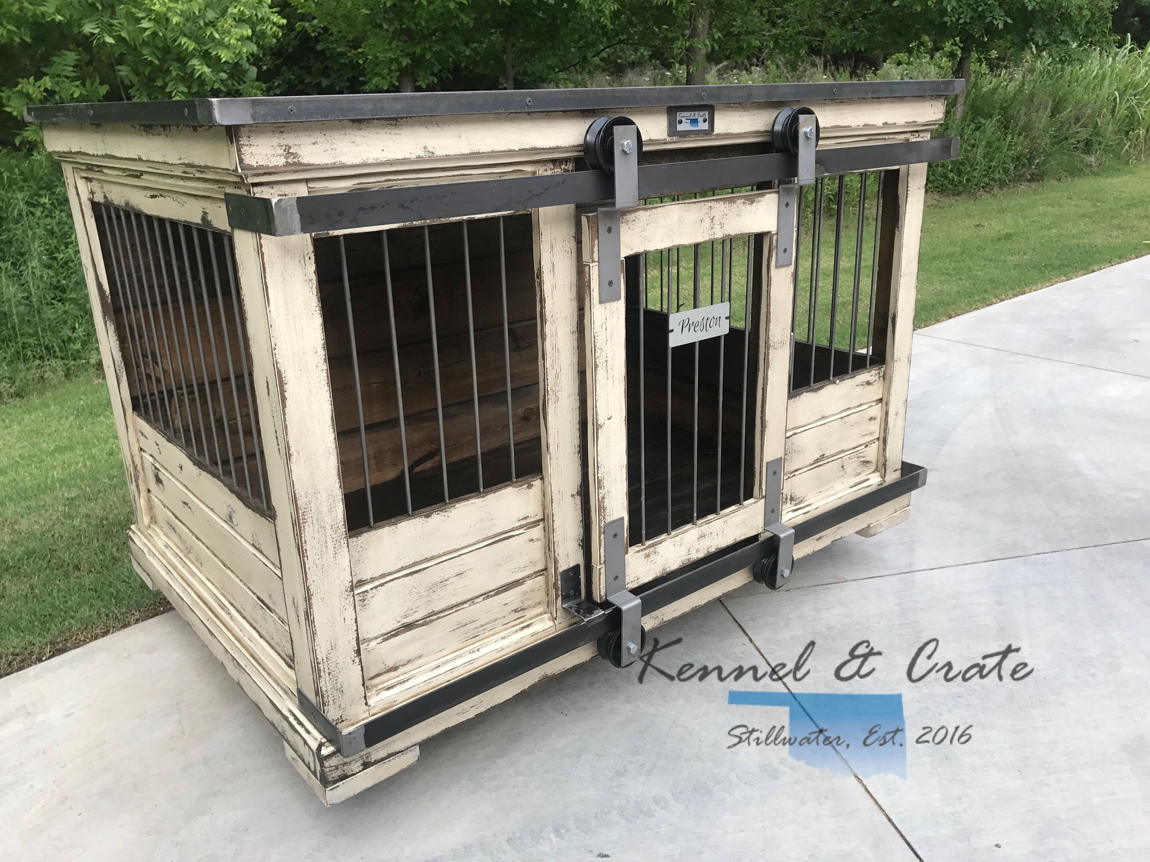 Urban Farmhouse Indoor Dog Kennel Replace Those Wire Crates With A Real Piece Of Furniture You Ll Be Proud To Luxury Dog Kennels Dog Kennel Outdoor Dog Kennel