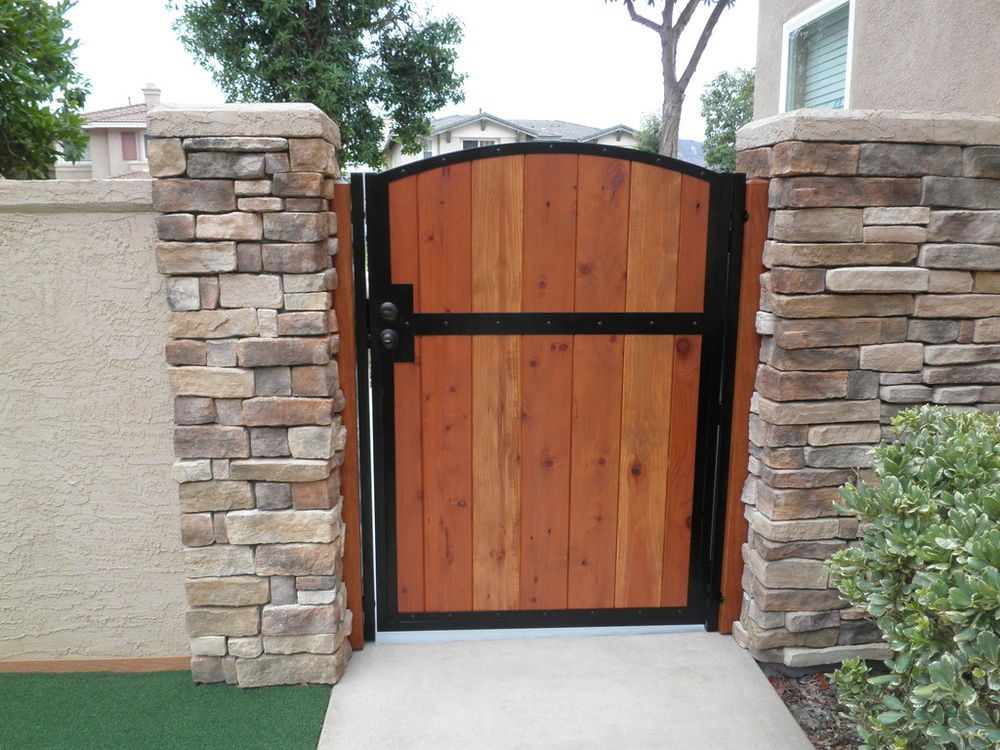 Wooden Gate Solid Redwood Metal Contemporary Iron Garden Wood Entry Modern