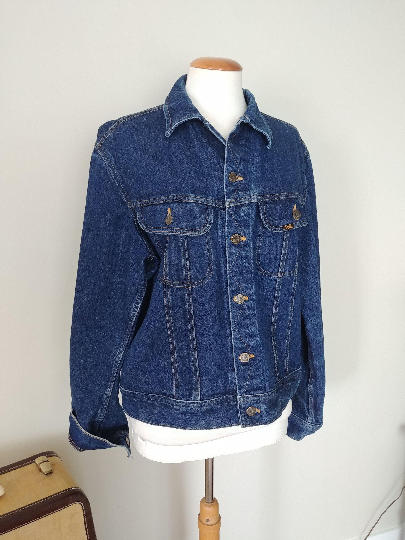 Vintage 80s Lee Riders Jean Jacket Mens 44 Long Rockabilly Western Denim Jacket Dark Wash Trucker Coat Denim Jacket Trucker Coat Lined Jeans [ 3000 x 2250 Pixel ]