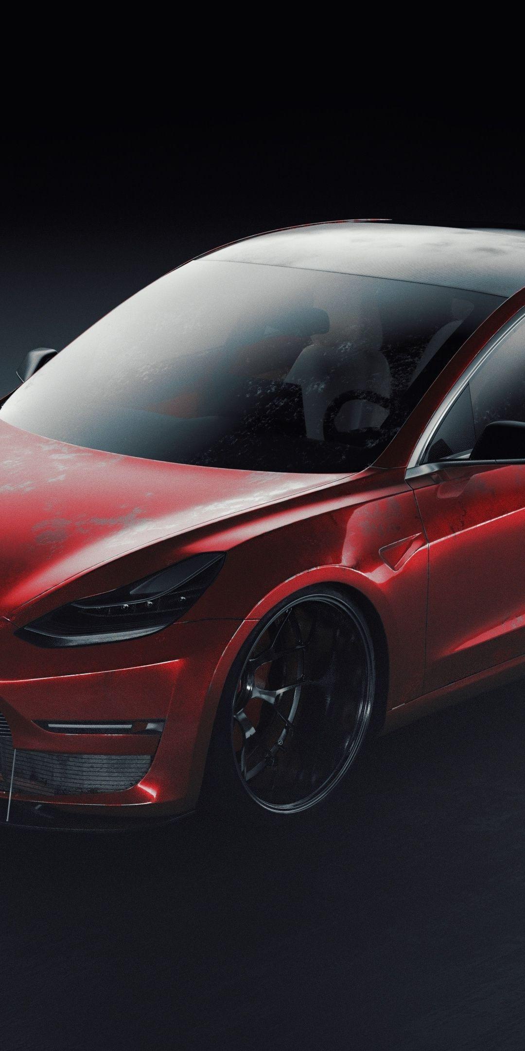 Tesla Sport Car Artwork Red 1080x2160 Wallpaper Cars