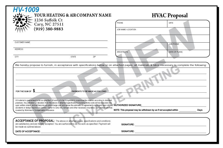 Hv 1009 Half Sheet Hvac Equipment Proposal Agreement Value