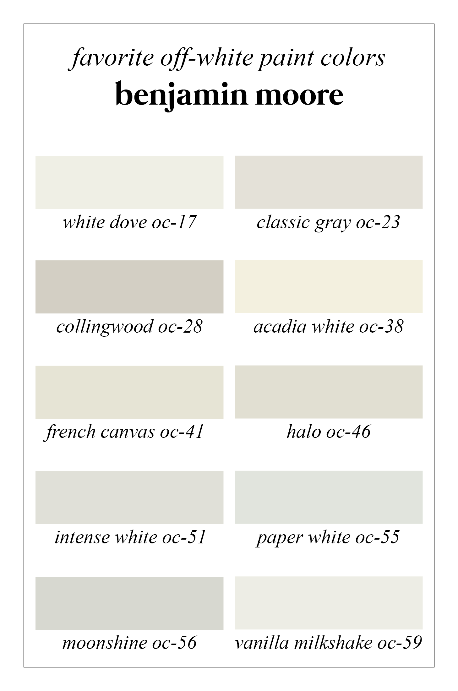 Favorite off white benjamin moore paint colors white dove for White paint swatches