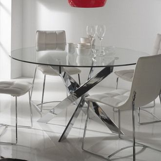 table manger ronde en m tal et verre tremp york. Black Bedroom Furniture Sets. Home Design Ideas