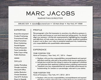 Resume Template - CV Template for Word, Mac or PC, Professional ...