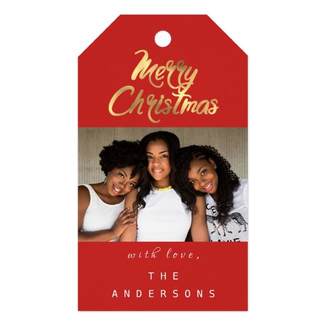 Merry Christmas Gift Photo Red Gold Snowflakes Gift Tags