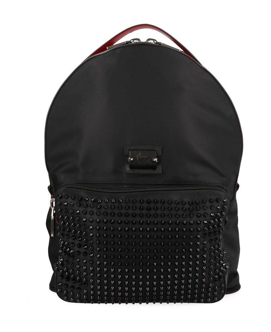 224b44d47708 CHRISTIAN LOUBOUTIN 黑色尼龙铆钉双肩包.  christianlouboutin  bags  leather  nylon   backpacks