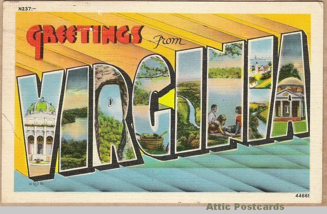Vintage large-letter linen postcard; Greetings from ...