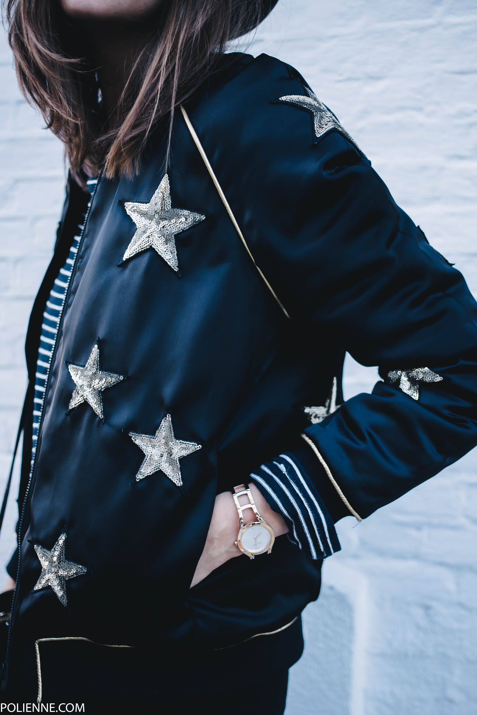 ZOE KARSSEN star bomber jacket, CHEAP MONDAY denim, H&M hat, COACH bag & MOROBE cowboy boots