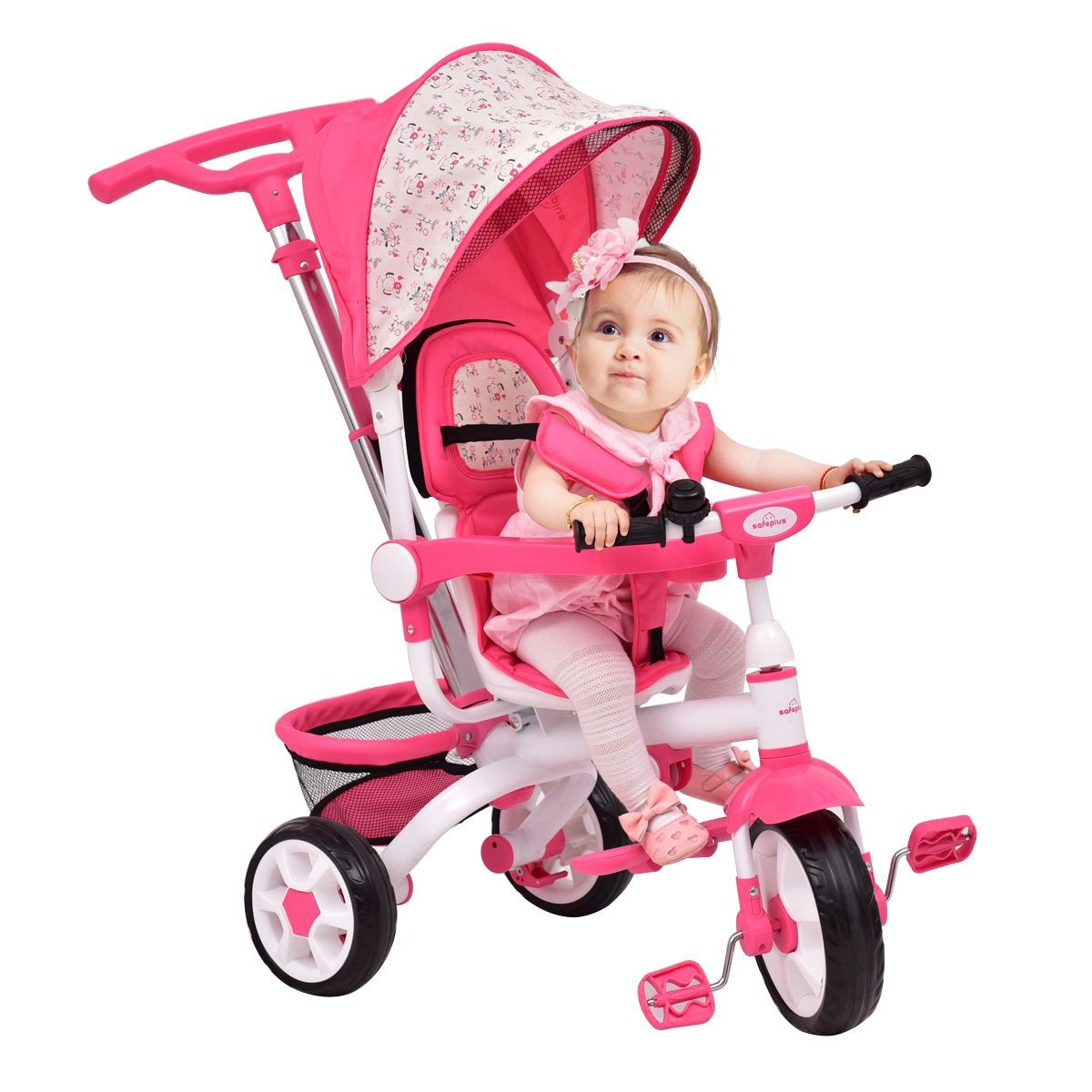 4 In 1 Detachable Baby Stroller Tricycle With Round Canopy Baby