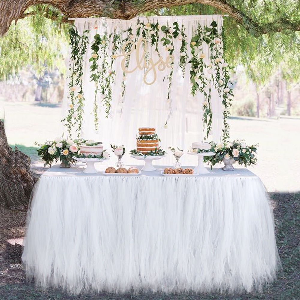 Tulle Tutu Table Skirt Wedding Birthday Party Decor Table Cloth Champagne
