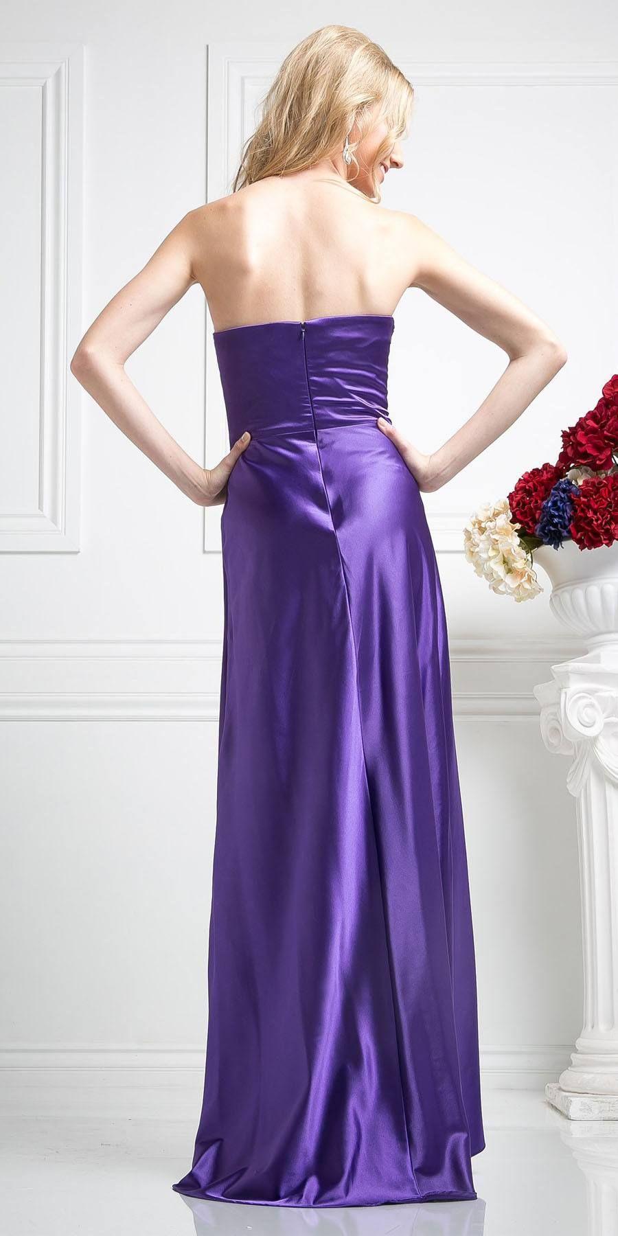 Long strapless purple formal dress satin rhinestone