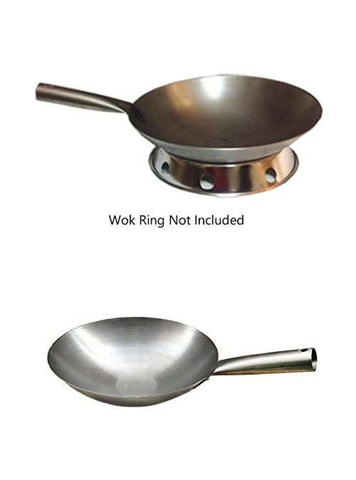 Pow Wok W Flat Or Round Bottom Hollow Metal Handle Usa