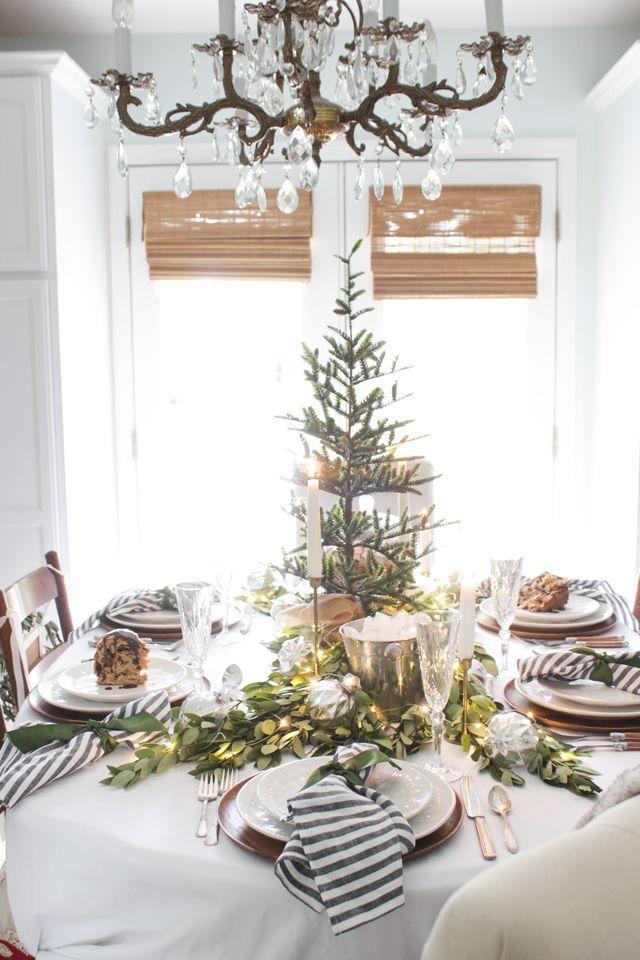 A Fresh Green Christmas Table Christmas Table Decorations Christmas Table Centerpieces Christmas Table Settings