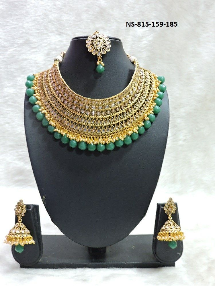 170781ca818 ₹ 2450+  Green heavy necklace bridal jewellery set