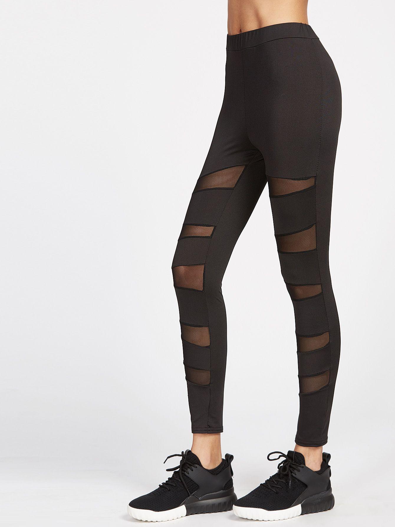 3eaff96f4273 Shop Black Sheer Mesh Insert Leggings online. SheIn offers Black Sheer Mesh  Insert Leggings &