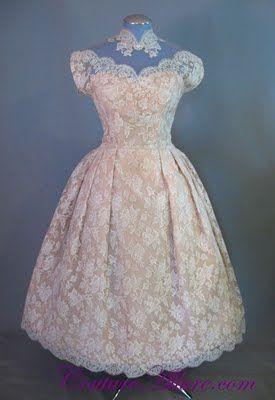 Ecru Lace And Taffeta Bridal Dress Ballerina Length With Scalloped Neckline Hem