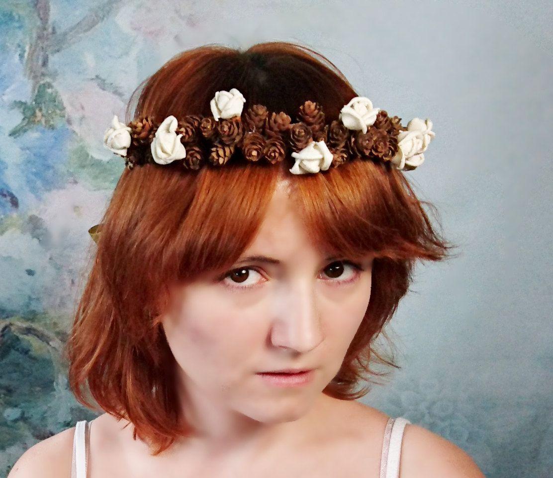 Pine cone crown wreath ivory sola flowers rustic wedding gold pine cone crown wreath ivory sola flowers rustic wedding gold ribbon flower girl bride fall izmirmasajfo