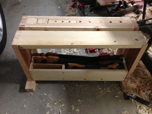 Split Top Saw Bench 6 Finishing Up Woodworking Bench Woodworking Workbench Woodworking Projects
