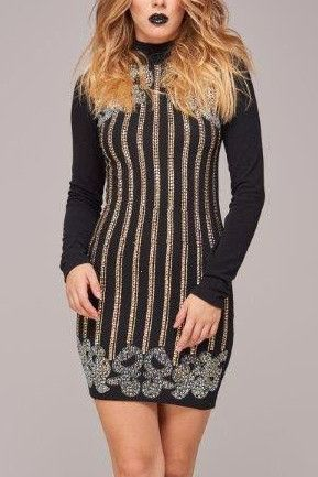 Celebrity Styles Lulu Embellished Long Sleeve Bodycon Dress