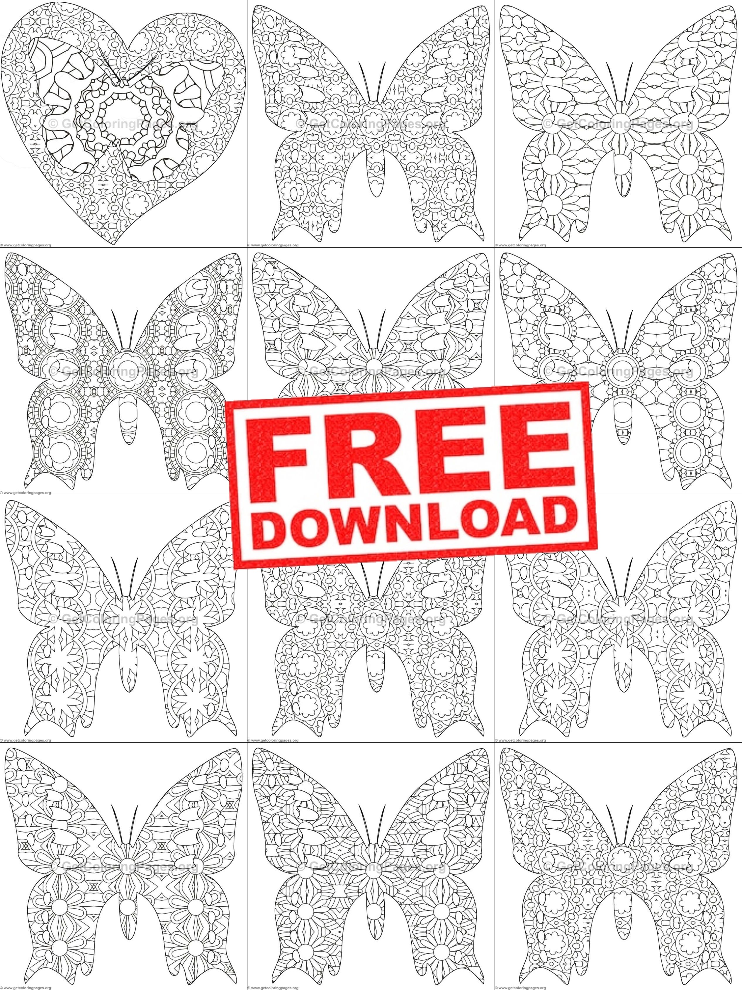 Zentangle Butterflies Coloring Sheets
