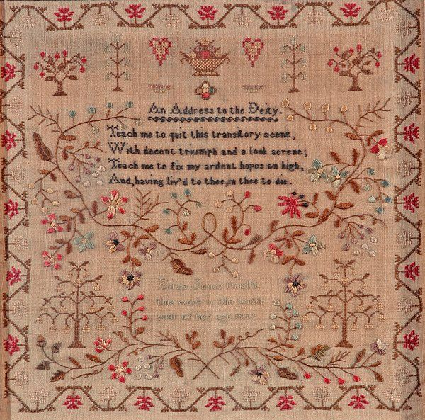 English needlework sampler. The design includes flowers, trees, hearts and a poem. Created by Eliza Jones in 1829