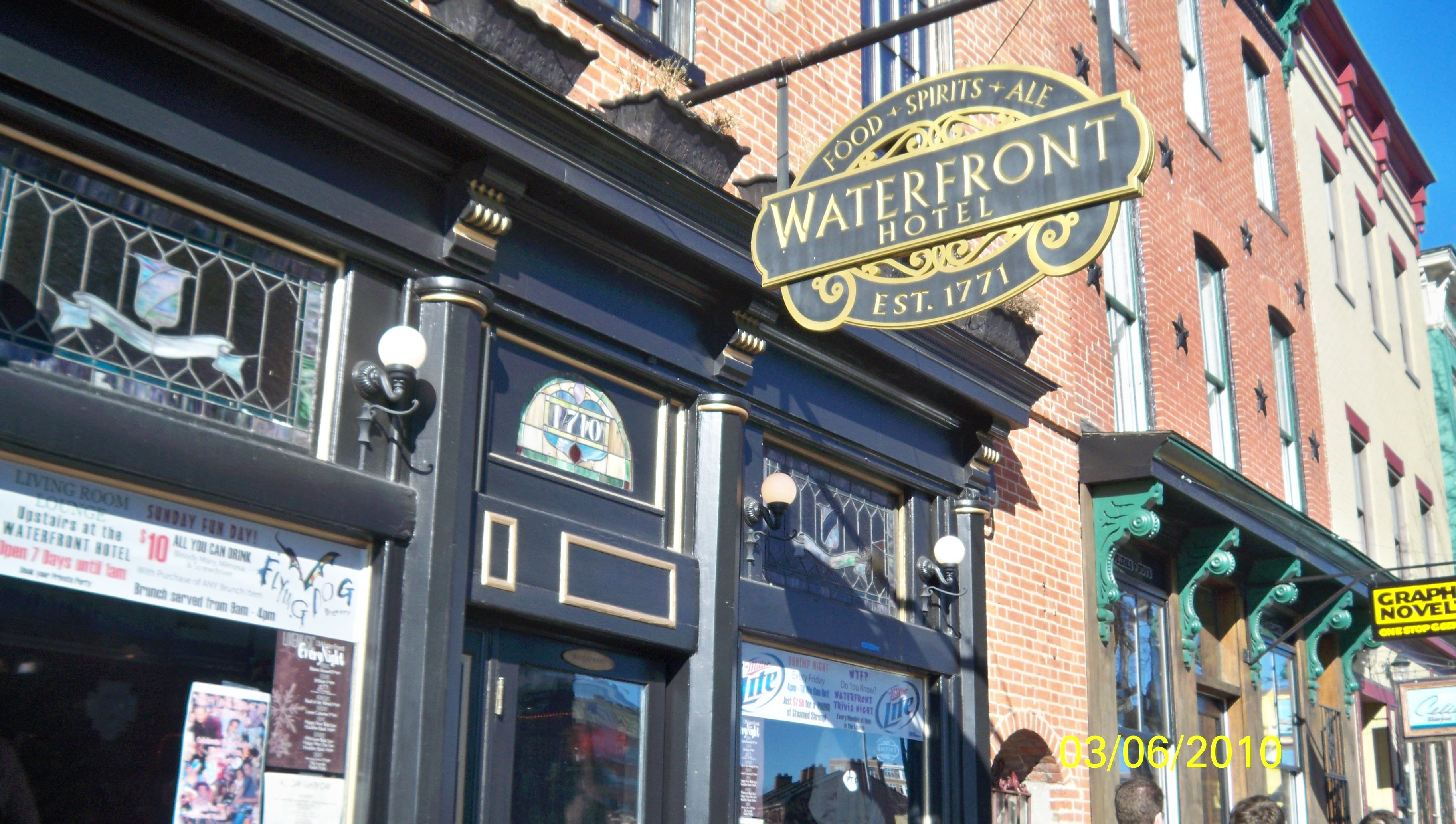 Waterfront Hotel Tavern Fells Point Baltimore Maryland Hauntings Eastern Enies