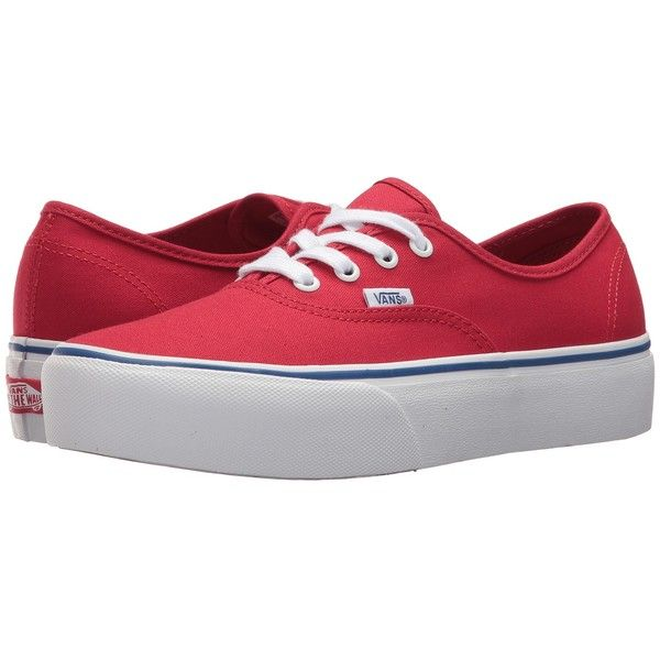 6273405c25db4f Vans Authentic Platform 2.0 ((Canvas) Racing Red True White) Skate...  (756.965 IDR) ❤ liked on Polyvore featuring shoes