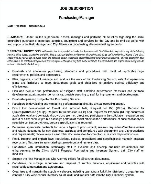 Purchasing Manager Resume Purchasing Manager Job Description Template  Purchasing Manager