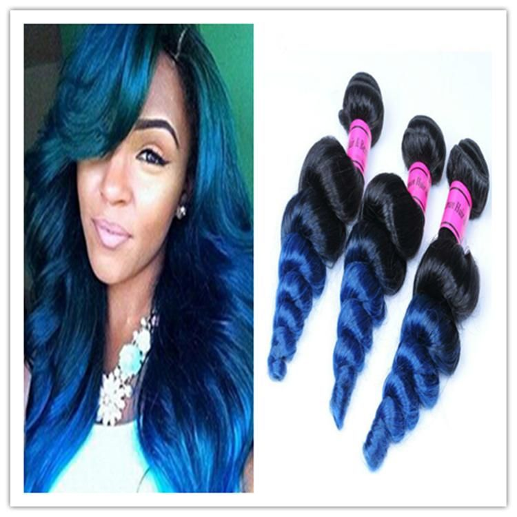 Ombre Blue Human Hair Extensions Loose Wave 8a Brazilian Ombre Blue