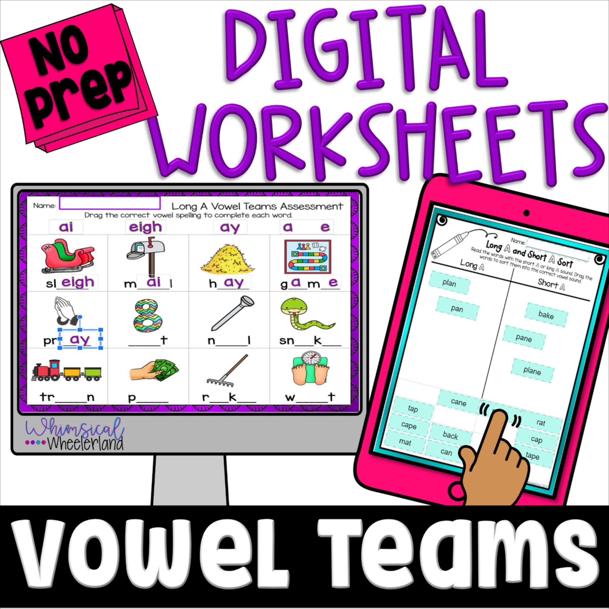 Long Vowel Teams Digital Worksheets In