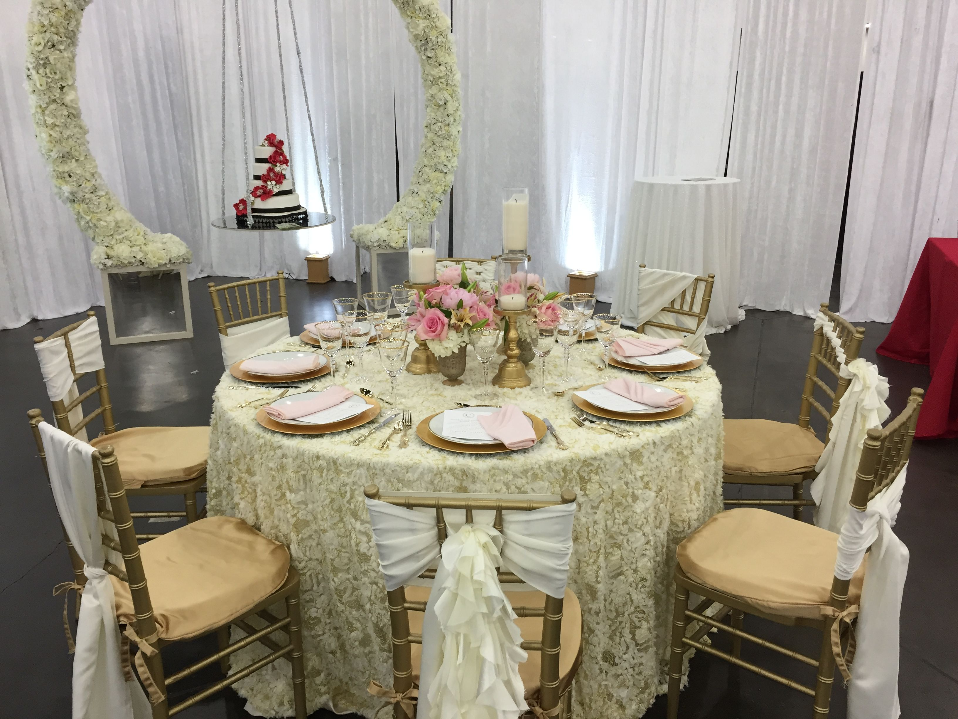 chiavari chairs rental houston swing chair cushions only ivory blissful chiffon sashes in different ties blush florals gold chivaries bridal extravaganza texas house of hough specialty linen company