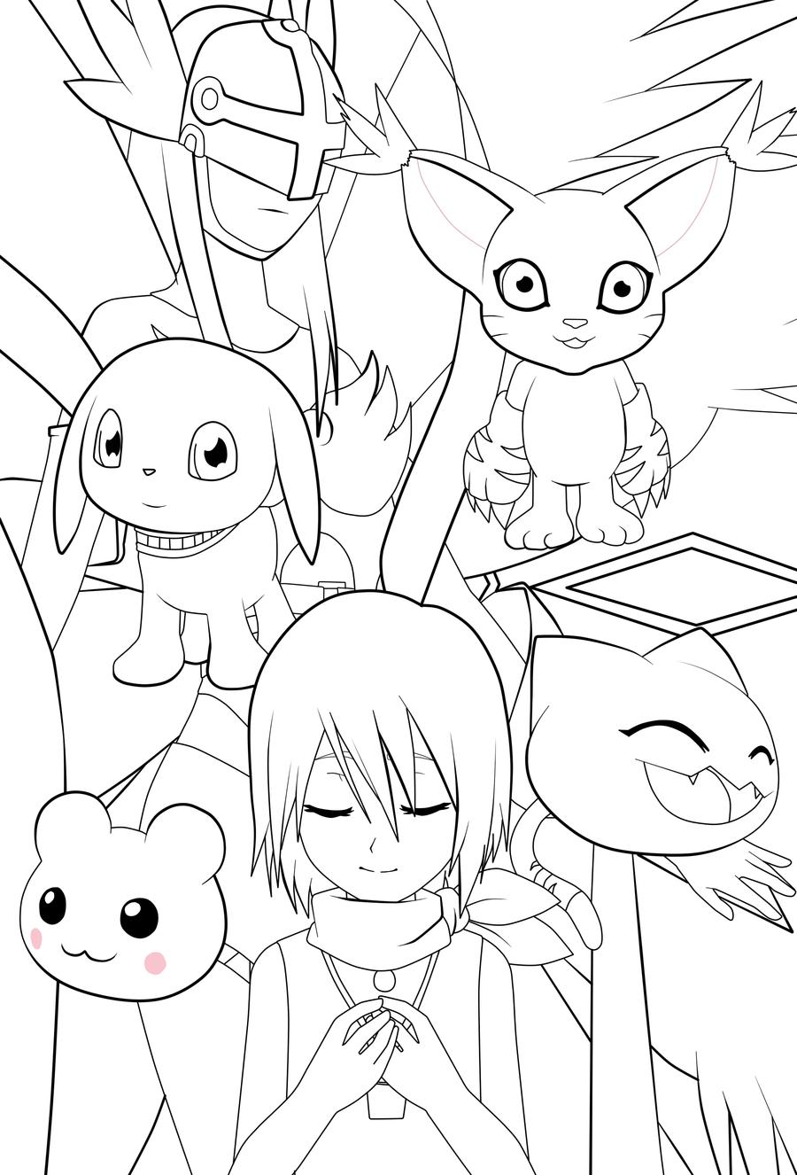 Digimon-Kari Lineart by kleenesoph
