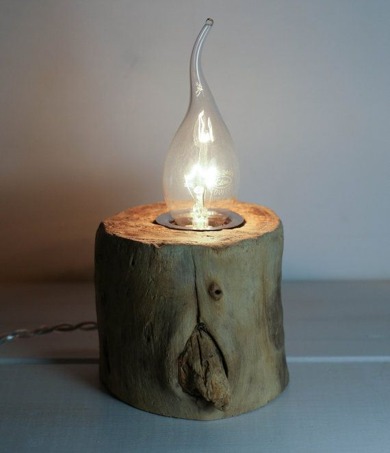 reclaimed industrial lighting. Exposed Bulb Lamp, Rustic Industrial Cylindrical Wooden Handmade Reclaimed Lighting
