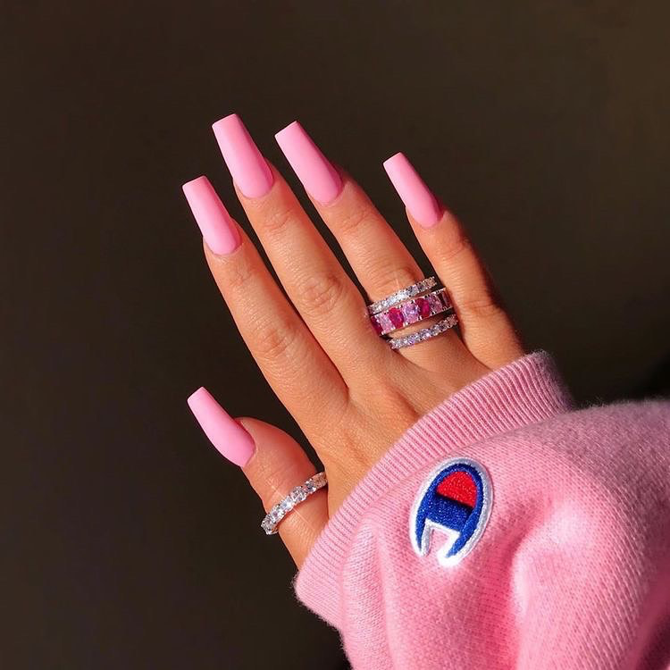 A R8d Pronounced A Rated On Instagram Pretty In Pink Girly Champion Nails Pinkjewelry Pinkaestheti Pink Acrylic Nails Long Acrylic Nails Pink Nails
