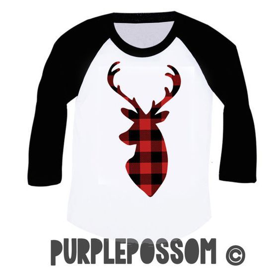 Deer silhouette t shirt, buffalo plaid, deer shirt, Christmas raglan, lumberjack party, tee, holiday party shirt