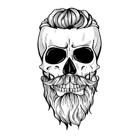 Skull with hairstyle tail, moustaches and beard, l